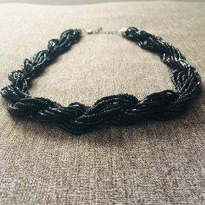 Black beaded and braided necklace